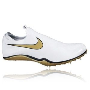 Nike track and field running gold spikes shoe